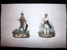 d'Urville 1835 Folio Hand Col Print. Tondano Soldiers, Indonesia, East Indies